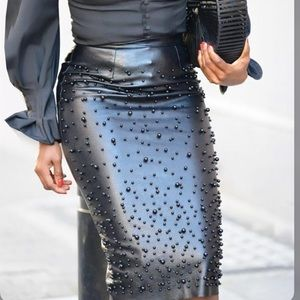 Dresses & Skirts - Black faux leather pearl detail skirt